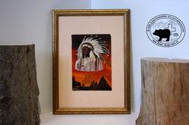 Indianerhäuptling mit Wigwam