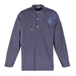 """Fischerhemd """"L. Marleen"""" mit Patch in mittelblau"""