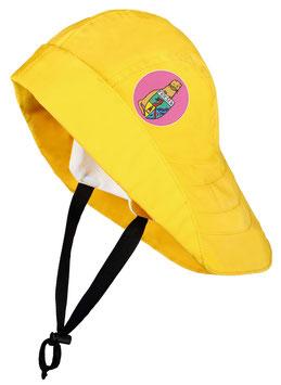 """Südwester """"Land voraus!"""" gelb mit Patch in pink"""