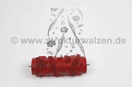Musterwalze 2019-2078 mit Streifen und Blumen / Blüten (50er 60er Jahre) - 15cm - (K18.9)