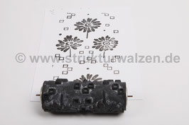 Musterwalze 2017-3534 (KRN) mit schönem floralem Muster / Blüte Blüten  (50er 60er Jahre) - 15cm - (K18.1)