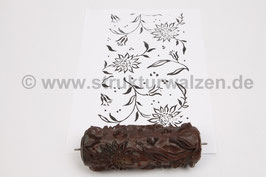 Musterwalze 2020-1974 mit schönem floralem Muster / Blüten / Blumen  (40er 50er Jahre) - (K18.6)