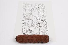 Musterwalze 2019-4015 mit sternförmigen Blüten / Blumen  (40er 50er Jahre) - (K19.9)