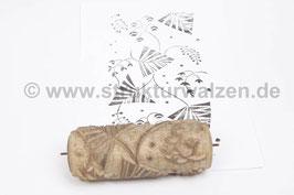 Musterwalze 2020-1462 mit eckigem Blättermuster (40er 50er Jahre) - (K18.3)