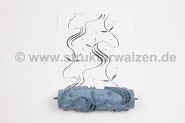 Musterwalze 2019-0078 mit Wellen / gewellten Streifen mit Blättern (50er 60er Jahre) - 15cm - (K18.9)