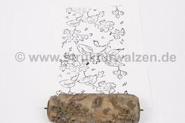 Musterwalze 2020-2371 mit schönem floralem Muster / Zweige und Blätter  (40er 30er Jahre) - (K21.2)