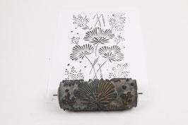 Musterwalze 2019-2693 mit schönen Blättern / Blüten (40er 50er 60er Jahre) - (K19.3)