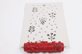 Musterwalze 2019-4058 mit schönem floralem Muster / kleine Blumen (50er 60er Jahre) - (K19.5)