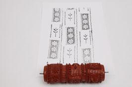 Musterwalze 2020-1969 mit schönem floralem Muster / Blüten im Rechteck  (50er 60er Jahre) - 15cm - (K18.1)