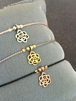 Seidenarmband mit Blume - UNIK