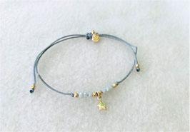 Glücksarmband in grau mit Stern in silber und Glasperlen iceblau - Freudenschmuck