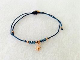 Glücksarmband in indigo blau mit Stern in silber rosé vergoldet und Glasperlen indigoblau - Freudenschmuck