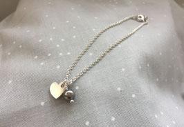 UNIK - Silberarmband mit Herz und Swarovskiperle
