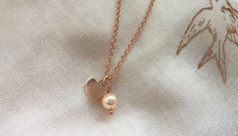 UNIK - Silberarmband rosé vergoldet mit Herz und Swarovskiperle