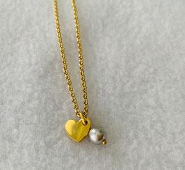 Silberarmband mit Herz vergoldet und Swarovskiperle - UNIK