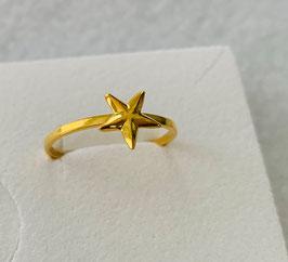 Silberring Stern vergoldet - UNIK