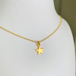 Kugelkette mit Stern vergoldet - UNIK