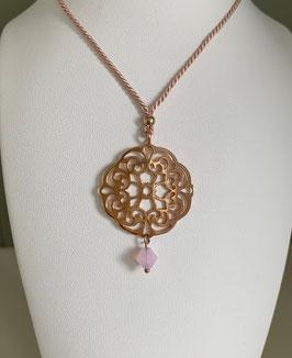 Seidenkordel-Kette mit Mandala silber rose vergoldet und Swarovskistein - UNIK