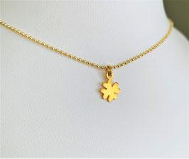 Kugelkette mit Kleeblatt vergoldet - UNIK