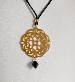Seidenkordel-Kette mit Mandala vergoldet & Swarovski - UNIK