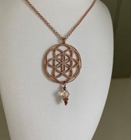 Silberkette mit Anhänger Seed of Life /Samen des Lebens rosé vergoldet & Swarovskistein - UNIK