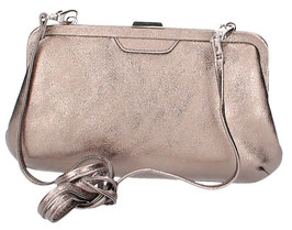 Ledertasche Clutch Picard in Altsilber
