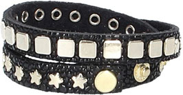 Lederarmband Schwarz in Rochenoptik mit Nieten in Light-Gold