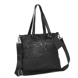 Ledertasche Chesterfield Shopper Cleo Schwarz