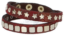 Lederarmband Rot mit Nieten in Light-Gold