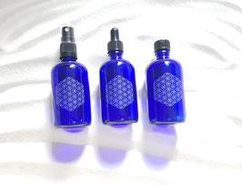 Blauglasfläschchen 100 ml mit Blume des Lebens