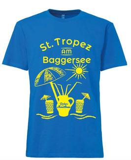 "T-Shirt ""St. Tropez am Baggersee"" (unisex blau)"