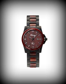 Fancy Uhr Steelwood – Schwarz Matt / Rosenholz