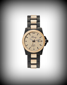 Fancy Uhr Steelwood – Schwarz Matt / Ahornholz