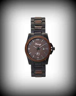 Fancy Uhr Steelwood – Schwarz Matt / braunes Sandelholz