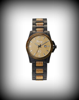 Fancy Uhr Steelwood – Schwarz Matt / Grünes Sandelholz
