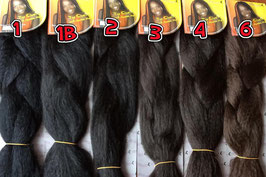 100% Kanekalon hair pieces for braids, rastas, cornrows in different colors