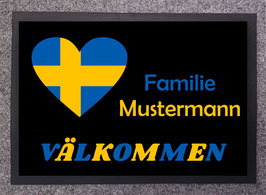 Fußmatte mit Schwedenmotiv und Familiennamen
