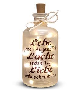 """Flaschenlicht """"Lebe Lache Liebe"""""""
