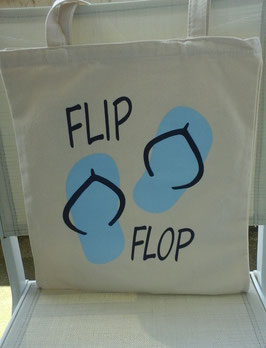 "Sac toile  tote bag motif tongs ""flip flop"""