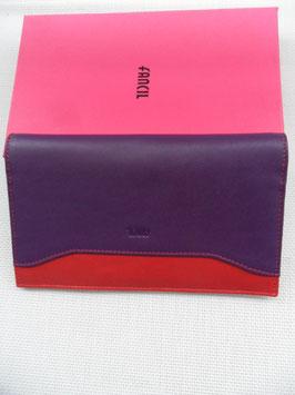 Porte chéquier cuir bicolore Fancil
