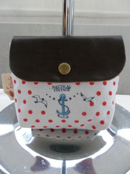 Porte monnaie  tissu à rabat motif marine