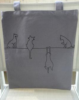 Sac toile  tote bag motif chats