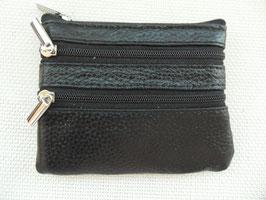 Porte monnaie  plat  cuir 3 poches zippées