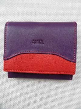 Porte monnaie, porte cartes cuir bicolore Fancil