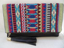 Pochette à rabat brodé ethnique zip à franges