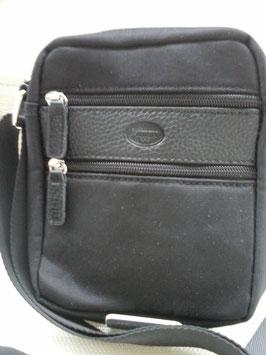 Pochette mixte nylon, garnitures cuir à bandoulière