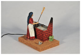 Mujer en Cocina y Ratón en  21 centímetros mv