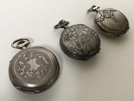 Lot de 3 montres de col en argent gousset