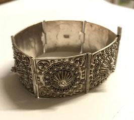 Bracelet manchette filigrane en argent pur