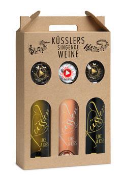 """Singender Wein """"Küssler Song"""" im 3er Geschenkkarton"""